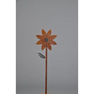 dekorativer Gartenstecker Blüte Metall edelrostig