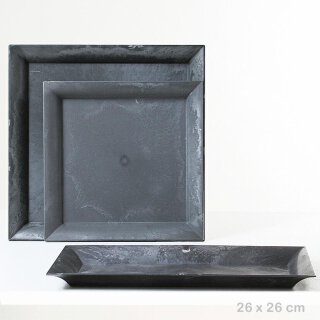 Deko-Teller rechteckig Kunststoff antikgraue Optik Preis für 1 Stück