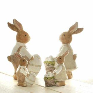 frühlingshafter Deko-Hase kleiner Osterhase Keramik in creme-braun Preis für 2