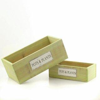 frühlingshafte Holzbox zum bepflanzen als 2-er Satz