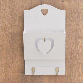 dekorative Zettelbox aus Holz weiß mit 2 Haken
