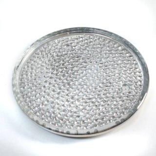 praktischer Kerzenteller Dekoteller aus Glas silberfarbig