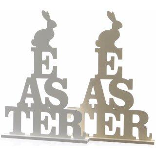 dekorativer Schriftzug Ostern aus Holz in 2 möglichen Farben