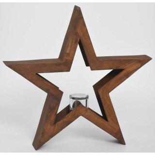 dekoratives weihnachtliches Windlicht als Stern Deko-Stern Metall rostig