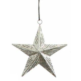 dekorativer Anhänger Stern Metall silber glänzend-matt mit geritztem Muster dreidimensional bauchig