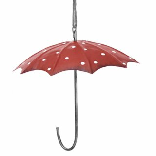 Meisenknödel-Halter Regenschirm Metall rot weisse Punkte Preis für 2 Stück