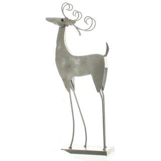 dekorativer stimmungsvoller Deko-Hirsch Weihnachts-Hirsch Hirschdeko Hirschfigur Metall silber Vintage Optik