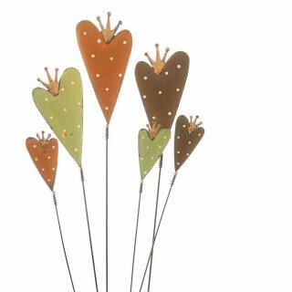 dekorativer Gartenstecker Herz mit Krone Preis für 1 Stück