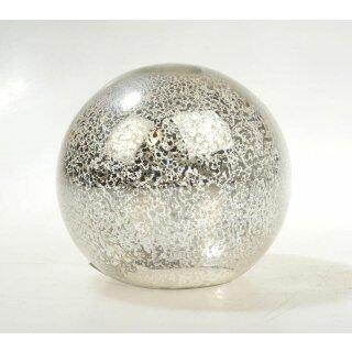 dekorative Glaskugel silber antikfinisch