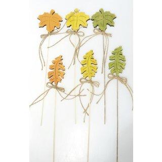 herbstliche Dekostecker Pick Blätter Herbstblätter am Stab Holz in orange gelb grün sortiert Preis für 6 - er Set