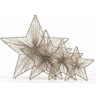 dekorative weihnachtliche Stern-Anhänger im 4-er Set ca. 35/30/25/18 cm