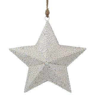 dekorativer Anhänger Stern mit Spiegelsteinchen in weißem Putz