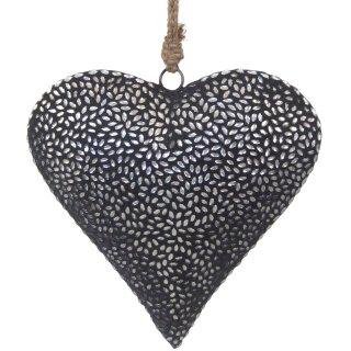 dekorativer Anhänger Herz mit silbernen Spiegelsteinchen in grauem Putz