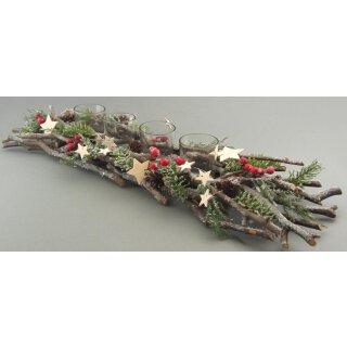 dekorativer weihnachtlicher Tischaufleger Adventkranz mit 4 Gläsern Naturzweige Kunsttanne roten Beeren weißen Sternen ca. 63 cm lang