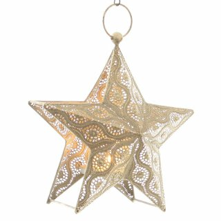dekorativer Kerzenhalter als Stern zum hängen oder stellen Metall gestanzt