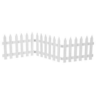 Deko-Zaun Holz-Zaun Jäger-Zaun 3 Zaunelemente a 40 cm zum klappen 30 cm hoch weiß Vintage