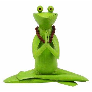 dekorative Metallfigur Yoga Frosch mit Kette
