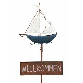 dekorativer Gartenstecker Segelboot mit Willkommen Schild