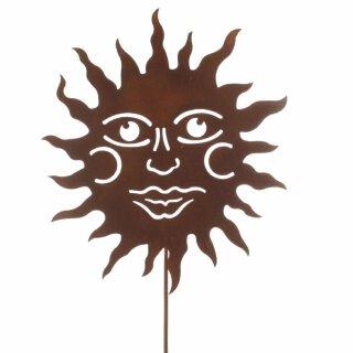 dekorativer Garten-Stecker Deko-Stecker Sonne Metall edelrostig