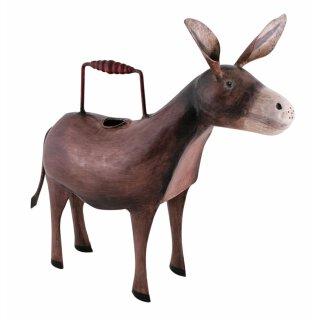 dekorative Deko-Gießkanne Esel Metall handbemalt