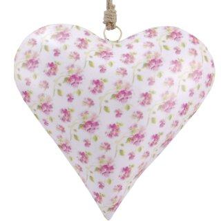 dekorativer Anhänger Herz bauchig weiß mit zartem Rosenmuster