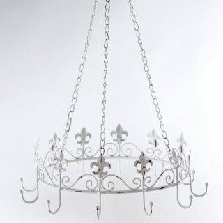 nostalgische Kräuterkrone Küchenkrone Motiv Lilie Metall shabby antik-weiß zum Hängen