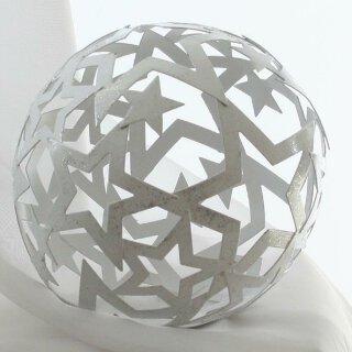 dekorative Deko-Kugel Stern-Kugel Metall weiß mit Glimmer Preis für 2 Stück