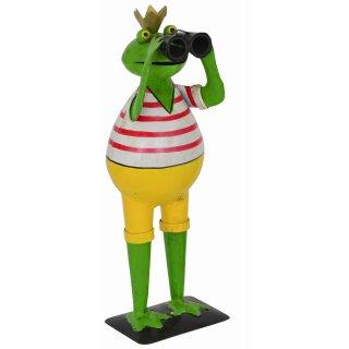 Deko-Frosch Garten-Frosch mit Fernglas Spanner-Frosch Metall bemalt mit Krone