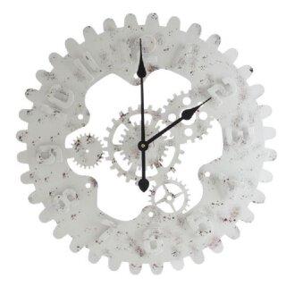 moderne Wand-Uhr Deko-Uhr im Industrie-Look Metall weiss