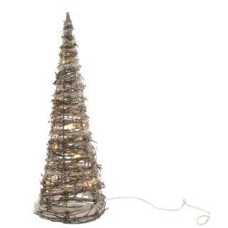 dekorative LED- Leuchtpyramide nur für innen Rattan mit Glitzer ca. 60 cm hoch