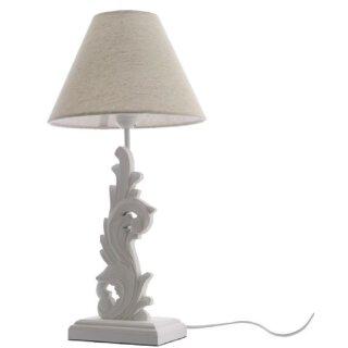 dekorative Tischlampe mit edlem Holzfuß und Stoffschirm in weiß