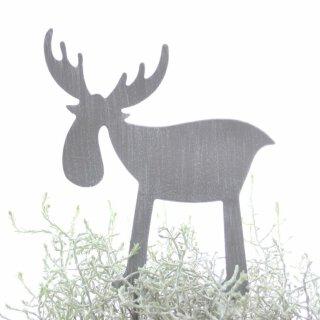 dekorativer Elchpick Metall hellgrau matt