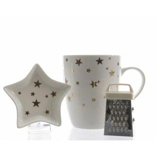 herbstliches weihnachtliches Schokoladen-Set 3-teilig Porzellan weiß mit goldenen Sternen mit Minireibe