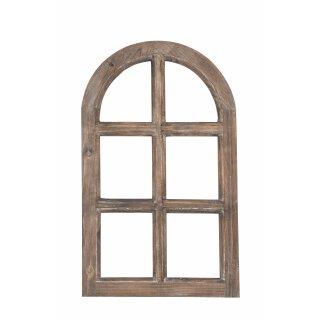 kleines Nostalgie Holz Deko Fenster natur braun gewischt halbrund