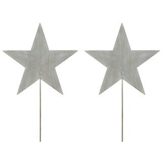 weihnachtlicher stimmungsvoller Garten-Stecker Stern am Stab Dekostern Metall hellgrau Preis für 2 Stück