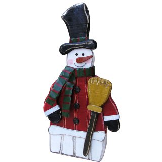 großer ausgefallener dekorativer winterlicher Deko-Schneemann aus Holz im Used-Look