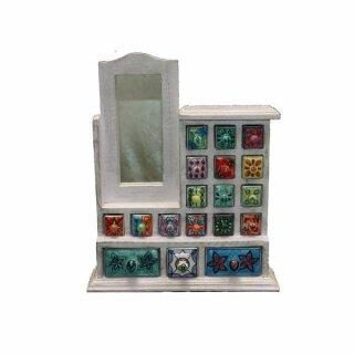 dekorative individuelle Mini-Kommode aus Holz mit Keramikschüben und Spiegel