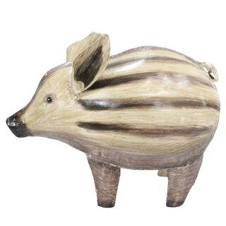 Metall-Deko-Figur Wildschwein Frischling Metall bemalt ca. 20,5 x 26 cm