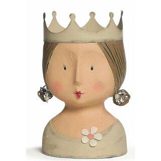Ladykopf mit Krone beige mit weißen Punkten