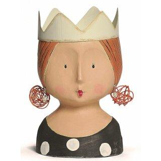 Ladykopf mit Krone schwarz mit weißen Punkten