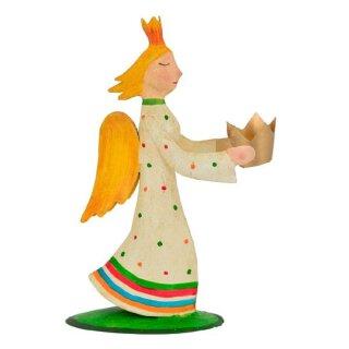 große dekorative Deko Figur Engel Metall bemalt mit Kerzenhalter