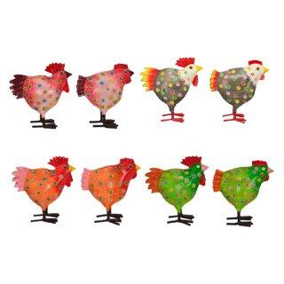 Hahn und Huhn gepunktet ca. 22 cm hoch Preis für 2 Stück