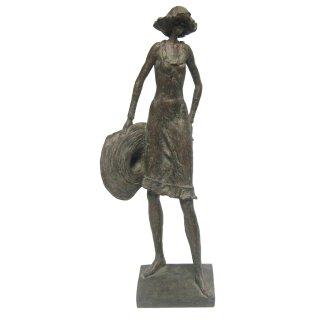 dekorative Frauen-Ffigur Damen-Figur Hilda mit Hut bronzefarbig