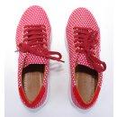 Cristofoli Damen Sneaker rot mit weißen Punkten und weißer Sohle