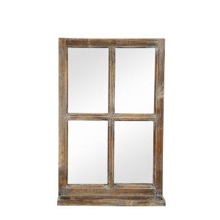 Deko-Fenster Fensterrahmen mit Ablagebrett und Spiegel Holz natur shabby