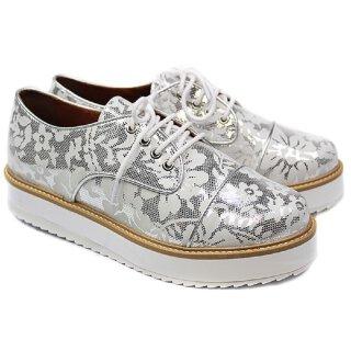 Cristofoli Damen Sneaker silber mit weißem Blüten-Muster Gr.