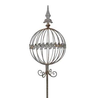 großer ausgefallener dekorativer Garten-Stecker Deko-Stecker Nostalgie Landhaus-Gartendeko Metall antikgrau