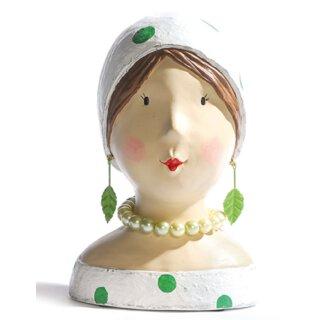 Ladykopf Dame weiß grün mit Blättern