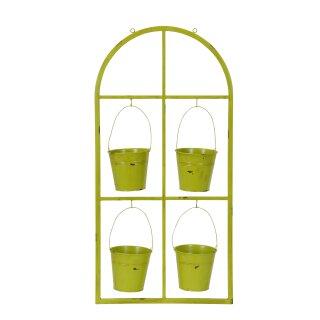 Deko Fensterrahmen aus Metall antik grün mit 4 Blumentöpfen
