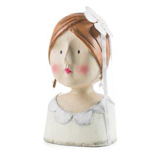 Ladykopf Braut mit Blume im Haar in cremeweiß